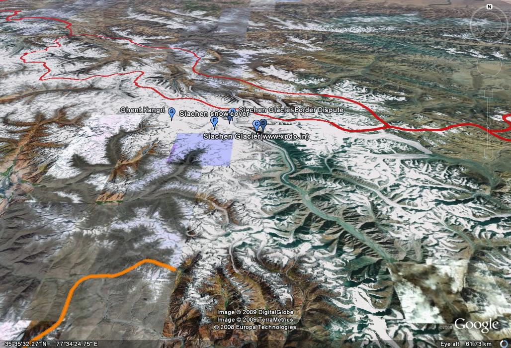 Siachen Glacier - The border line in RED is Indian Kashmir occupied by China. To the left is Pakistan Occupied Kashmir.