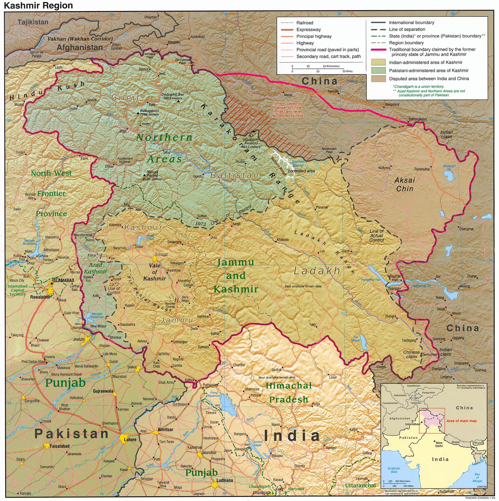 Detailed Map of KASHMIR showing Pakistan Occupied Kashmir & China Occupied Kashmir.