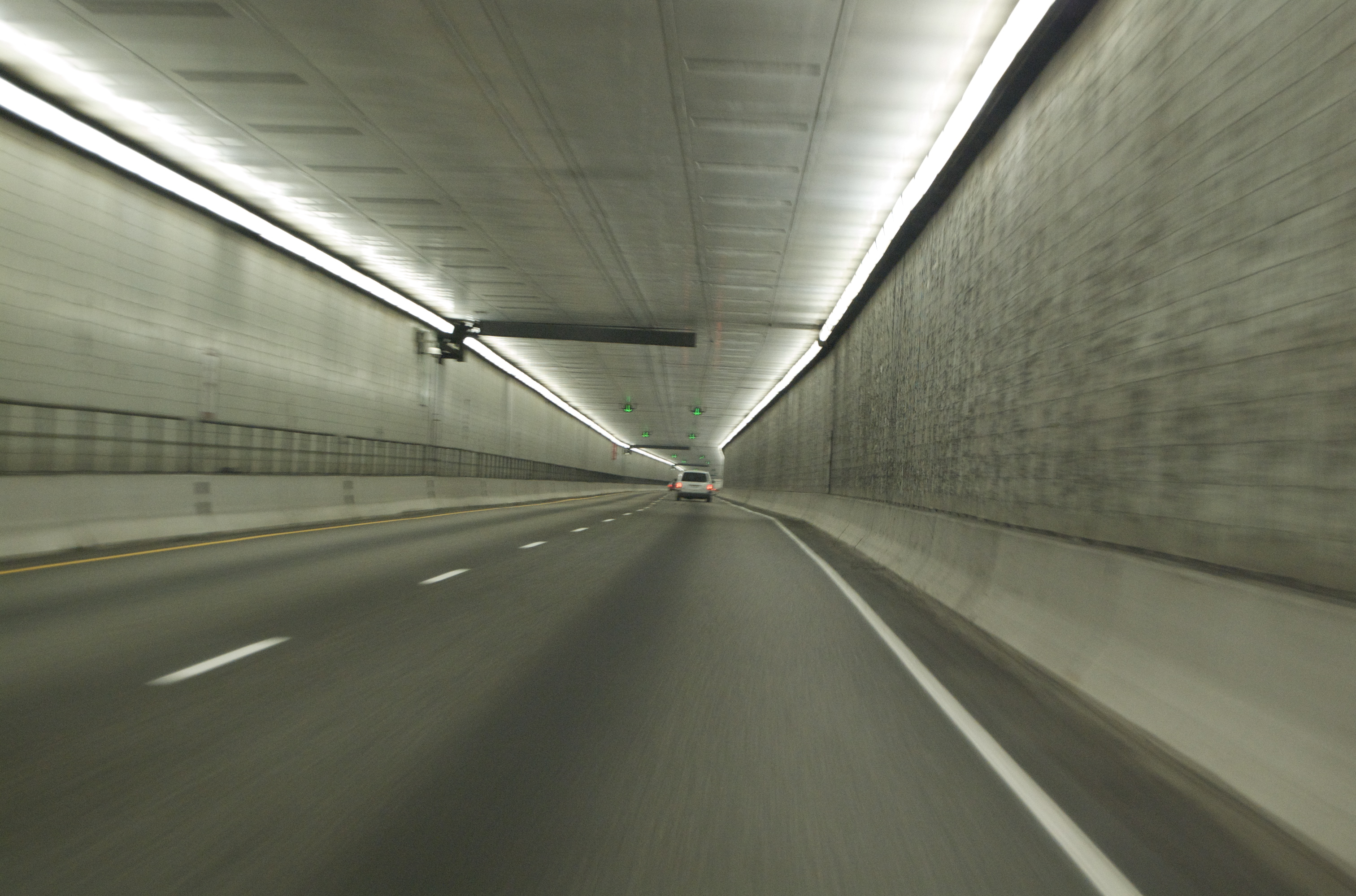 One-way,  2 lane traffic, inside the Eisenhower Tunnel in Colarado, USA