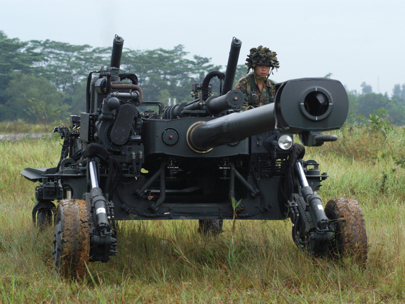 155 mm, 39Caliber Pegasus The Singapore Light Weight Howitzer (SLWH) 'Pegasus', is a helicopter transportable, towed artillery piece. It is built with titanium alloy and aluminium alloy materials that are lightweight and yet able to withstand the recoil force of the 155 mm artillery system. The SLWH Pegasus was the preferred candidate for the 145 ultra light howitzer program of the Indian Army. However, ST Kinetics was associated in a case of corruption & was blacklisted from participating in the program