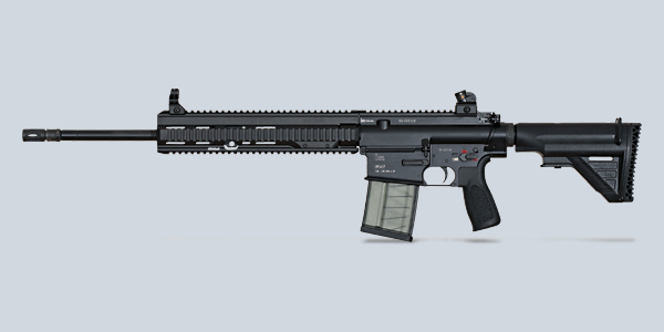 Heckler & Koch HK417 .30Caliber (7.62x51mm) The HK417 is a battle rifle designed and manufactured in Germany by Heckler & Koch. It is a gas-operated, selective fire rifle with a rotating bolt and is essentially an enlarged HK416. Chambered for the 7.62x51mm NATO round, it is intended for use as a designated marksman rifle, and in other roles where the greater penetrative power and range of the 7.62mm round are required.