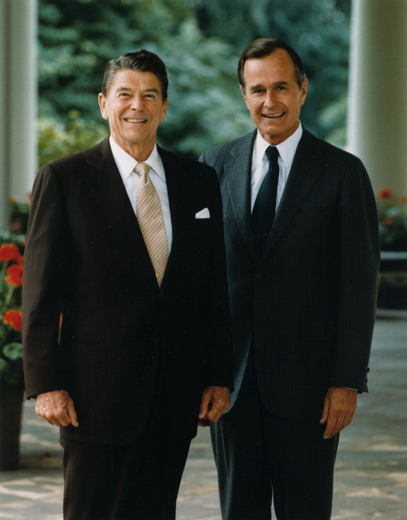 Former Vice-President George HW Bush, Sr with Former Late President Ronald Reagan