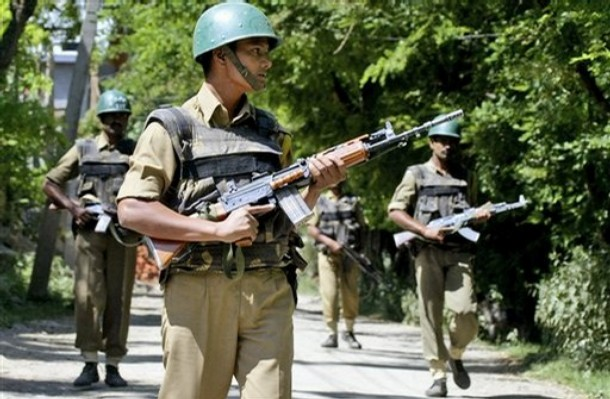 Indian Para-Military Forces on patrol in riot-torn Kashmir