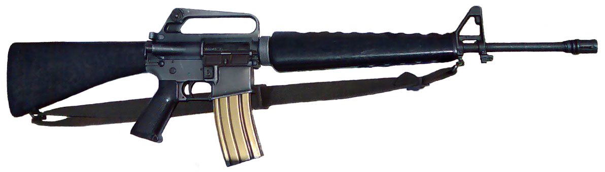 Colt M-10 .22Caliber (5.56x45mm) The M16 is the United States military designation for the AR-15 rifle adapted for semi-automatic, three-round burst and full-automatic fire. Colt purchased the rights to the AR-15 from ArmaLite. The rifle entered United States Army service and was deployed for jungle warfare operations in South Vietnam in 1963, becoming the U.S. military's standard service rifle 1969. As of 2010, the M16 is being phased out in the U.S. Army, and is being replaced by the M4 carbine, which is itself a shortened derivative of the M16A2