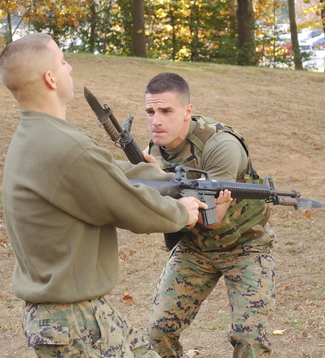 Soldiers practicing hand-to-hand combat using Rifle-bayonets