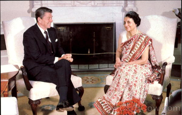 Former Late Prime Minister Indira Gandhi with Former Late President Ronald Reagan (July' 1982)