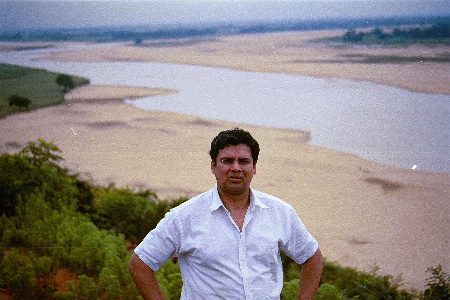Myself standing on the slope of the hill; overlooking the banks of River 'Quil', Mallehpur, Monghyr, North Bihar