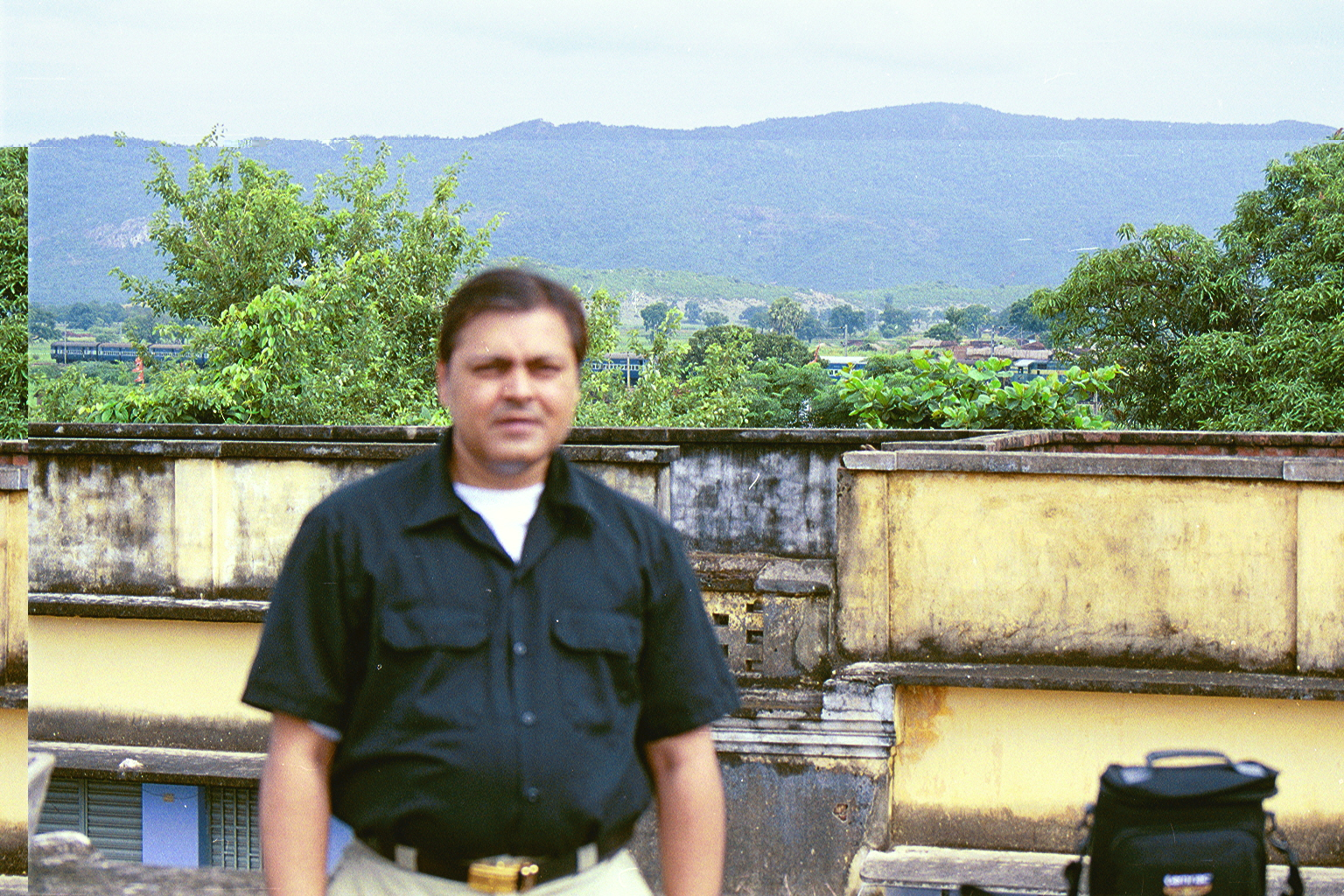 My brother Mr Anuraj Kumar Chaturvedi, ( Account-Superintendent; Indian Airlines ) on the roof of the house