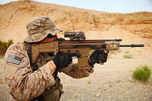 Belgium 'FN SCAR-H' (1999 - ??) 7.62x51mm FN SCAR-H MK17 STB (Standard Barrel) with attached FN40Grenade Launcher