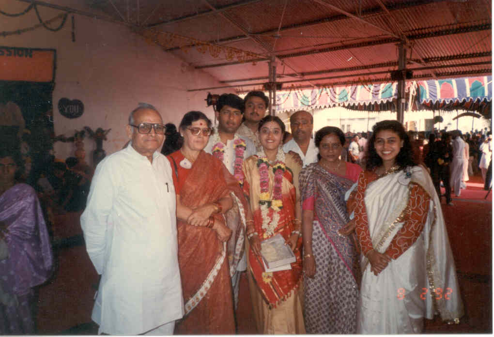 (1992) My Middle sister Chetna's (Anupriya) wedding in Bombay. Dad, Mom, Chetna and Sweety are seen in the picture