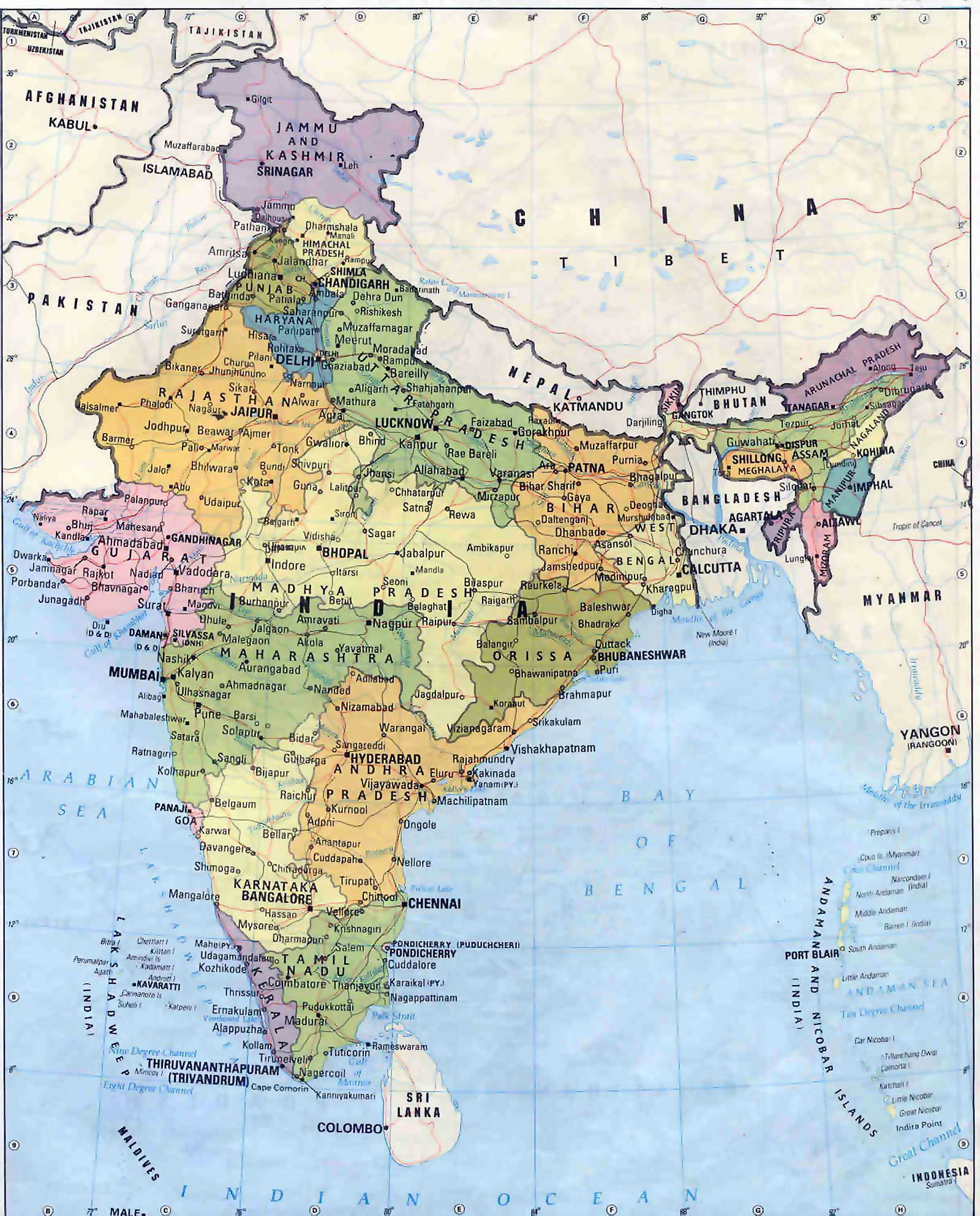 The real 'MAP OF INDIA', that is actually displayed all over INDIA & UNION territories; showing the entire state of KASHMIR, ( upto Afghanistan ) as being part of India !!