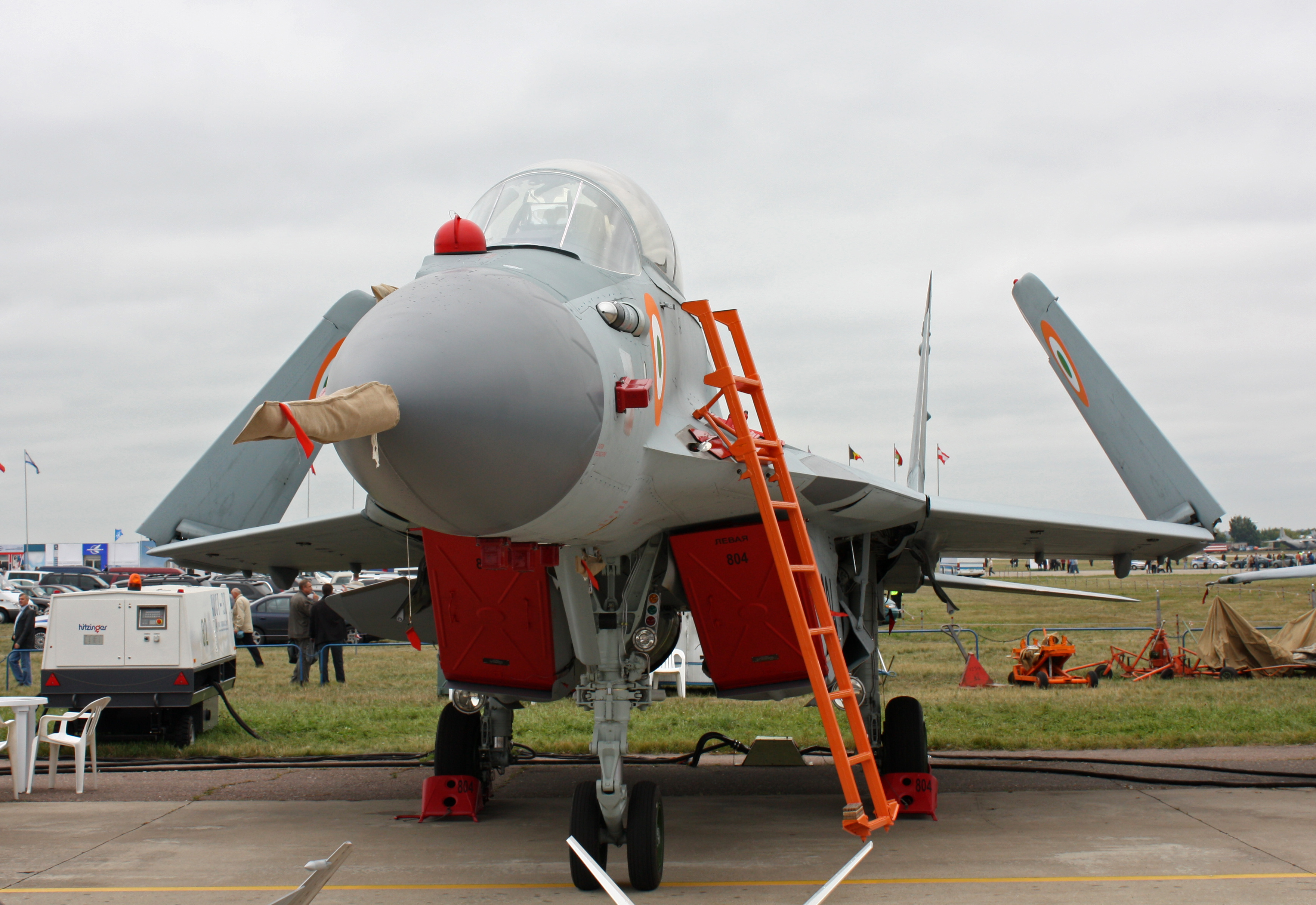 MiG-29K in Indian Navy colors at MAKS Airshow with Folding Wings for carrier operations