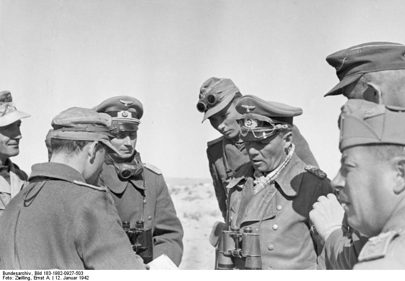 Field Marshal Erwin Rommel with his Tank Officers