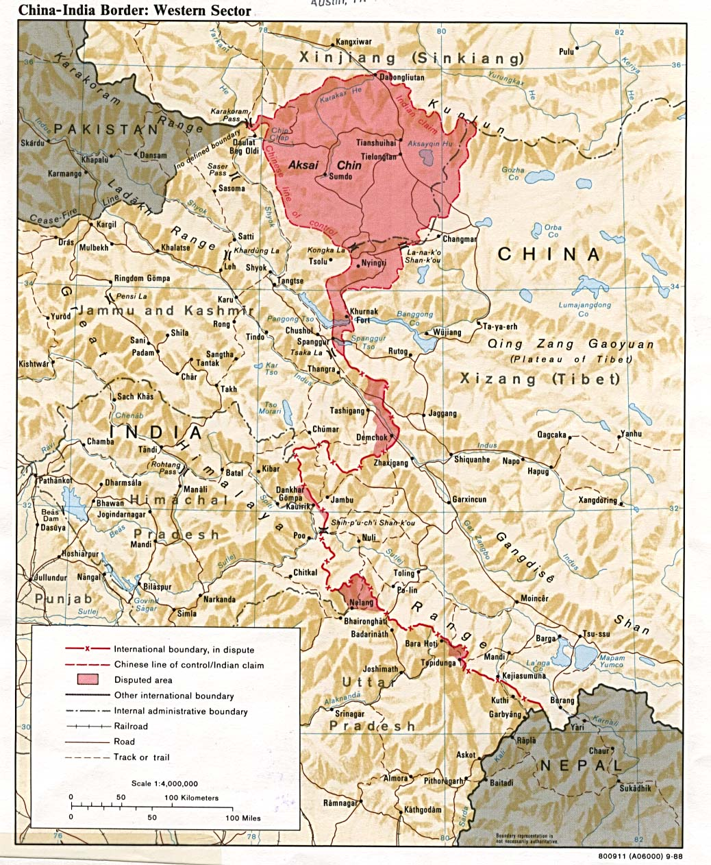 'India-China Border: Western Sector' 