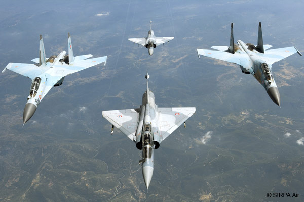 IAF combat aircraft in flight over the Himalayas