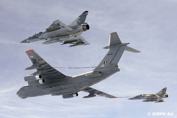 IAF IL-78 refuelling Mirage & SU30 in flight over the Himalayas.