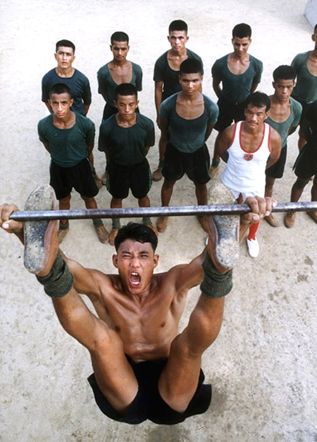 Indian Army Gurkhas at a physical training camp.
