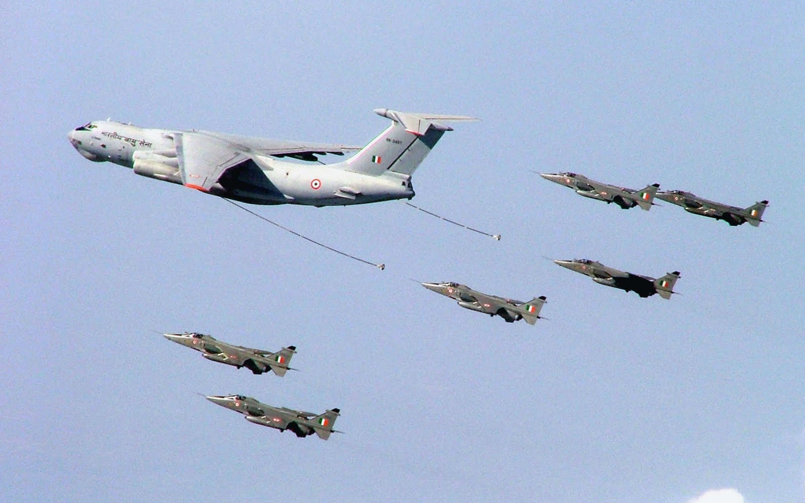 IAF JAGUAR Strike Aircraft lining up to refuel from Ilyushin-78 Midas Tanker.