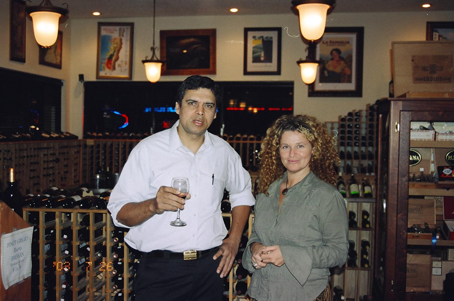 Myself at a wine party with a British friend of mine in 2002