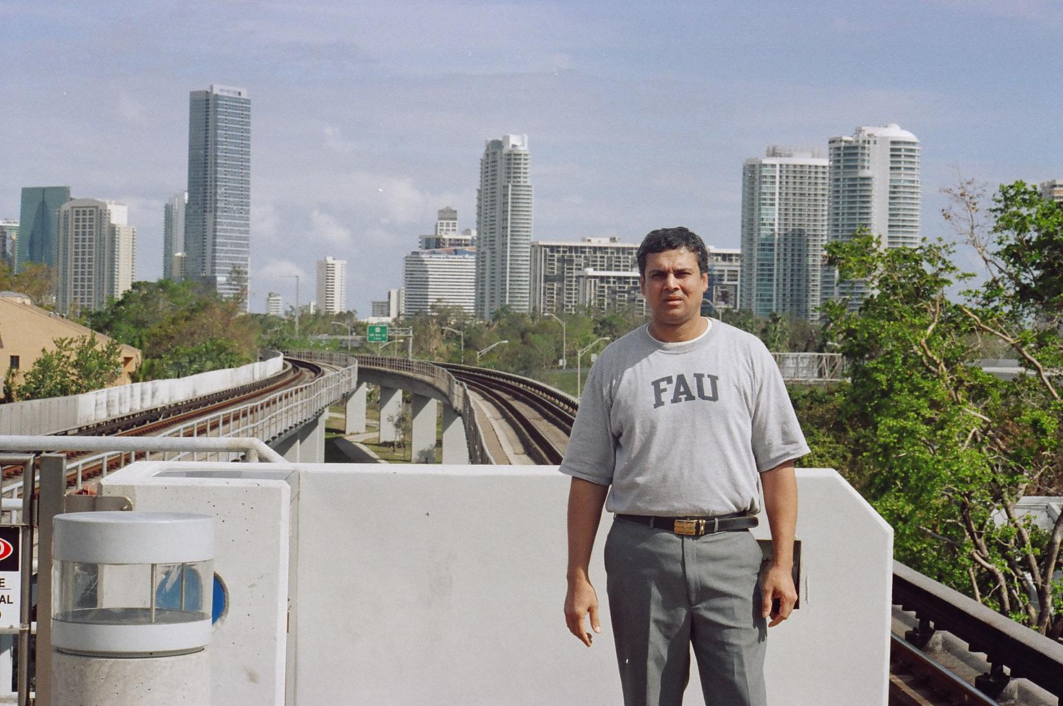 Myself at Vizcaya in Miami, with the Brickell Skyline in the background (2004)