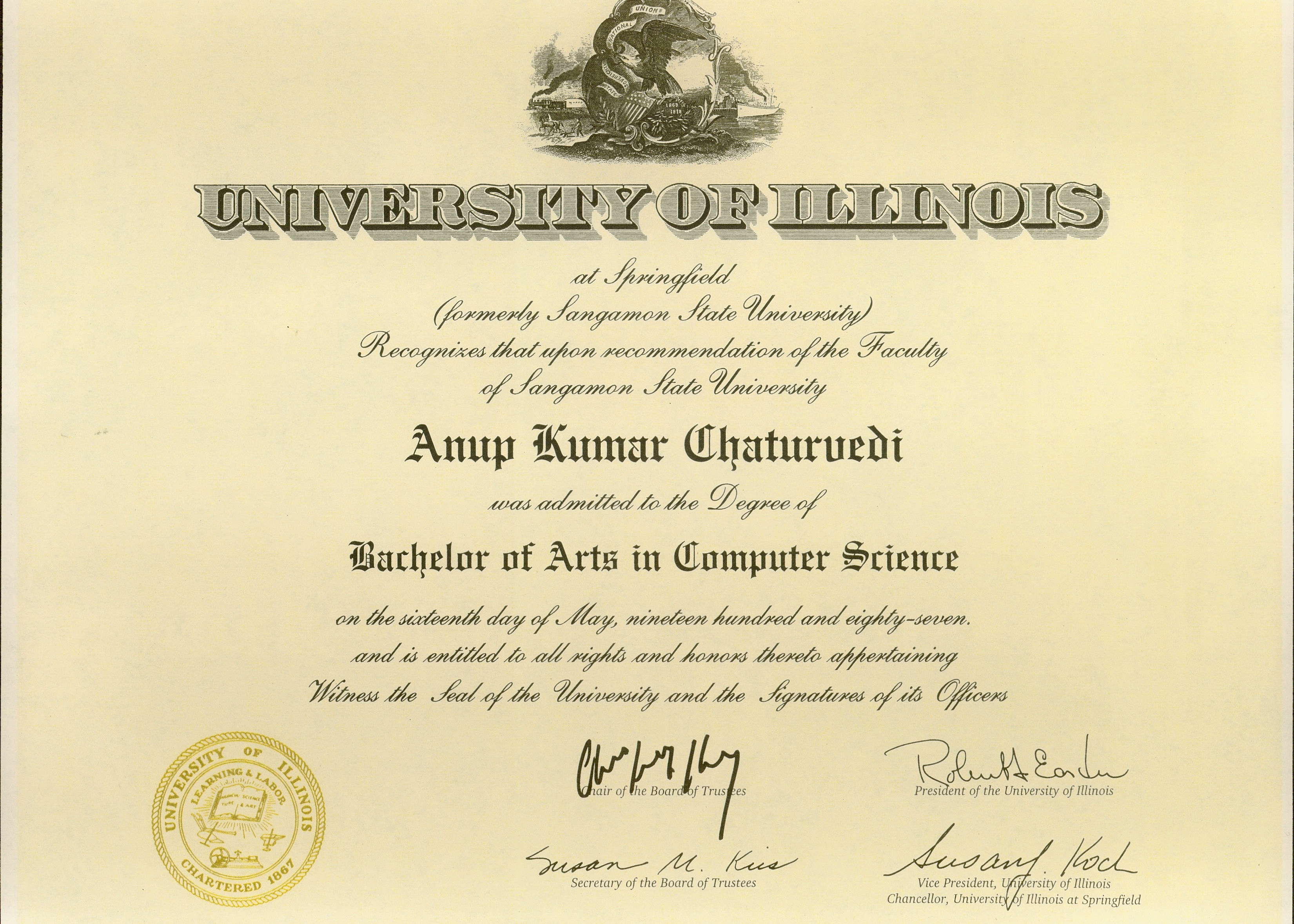 Bachelors Degree in Computer Science (1986)