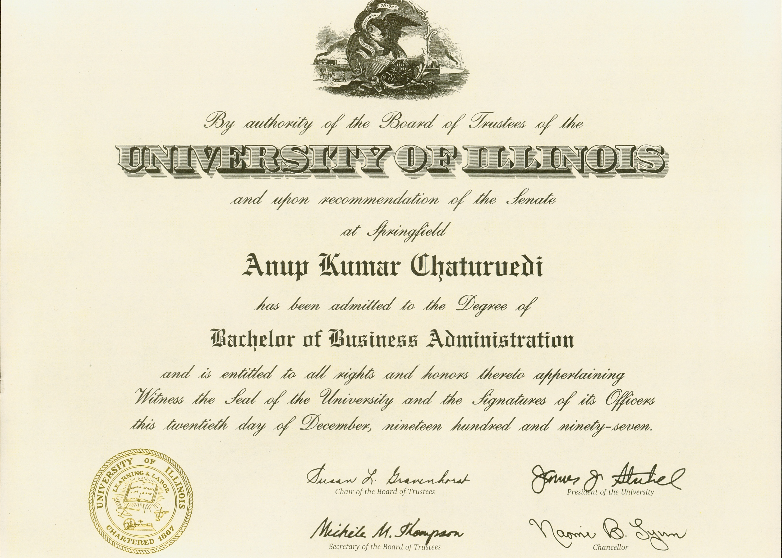 Bachelors Degree in Business Administration (1997)