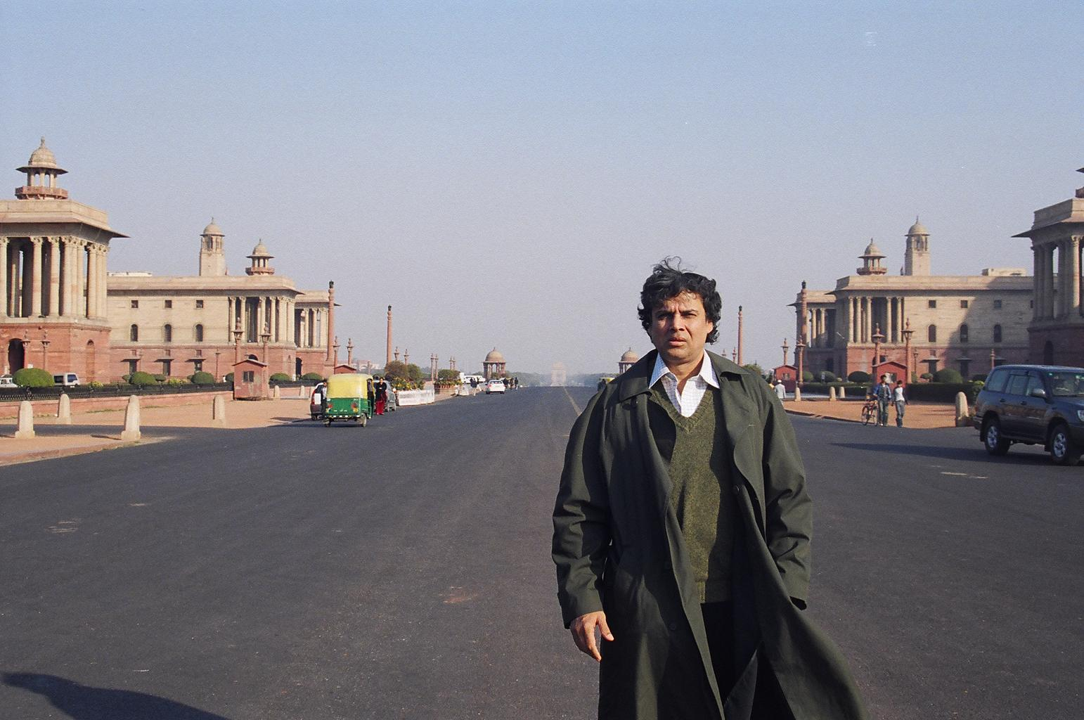 Myself at 50, standing within the 'RASHTRAPATI BHAVAN' perimeter (the Indian OVAL HOUSE); with 'INDIA-GATE' and 'RAJPATH' in the background; New Delhi, INDIA (1/14/08)