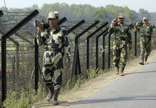 Indian Para-military Force personel on patrol in ASSAM