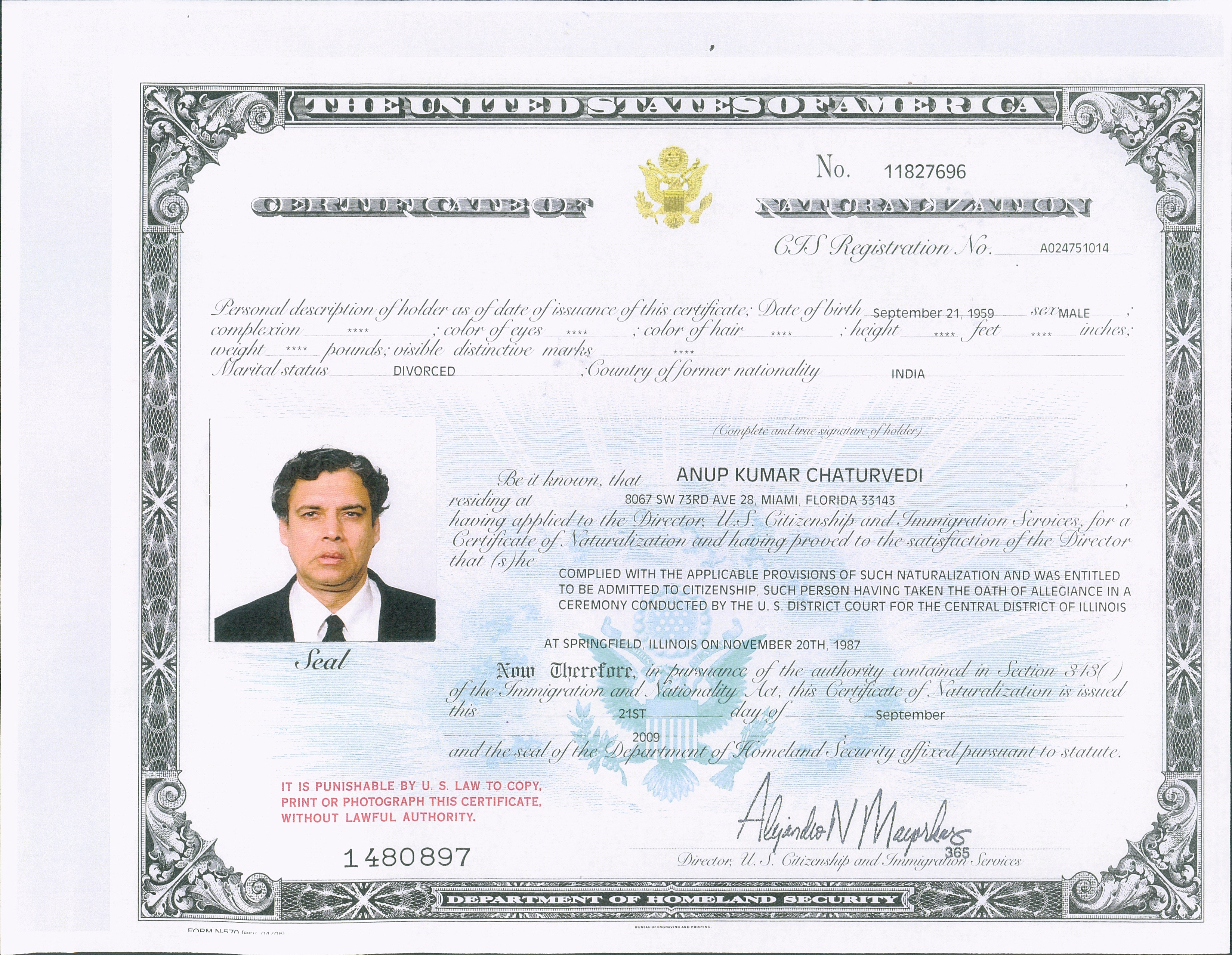My United States Citizenship Certificate
