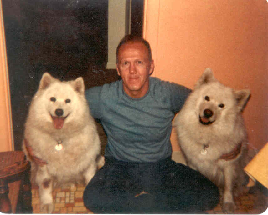 Irish-American, Capt. Stanley McCoy (retired Senior Flight-Instructor for Boeing - 747, UNITED AIRLINES) with his pet 'Samoyan Huskies', SNOWBALL & KISKA.