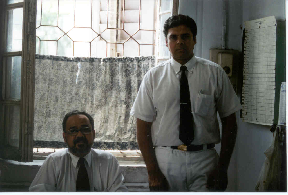 CLICK TO ENLARGE - Myself with the Headmaster ( Principal ) in his office at La-Martiniere; when I visited the school in 2002