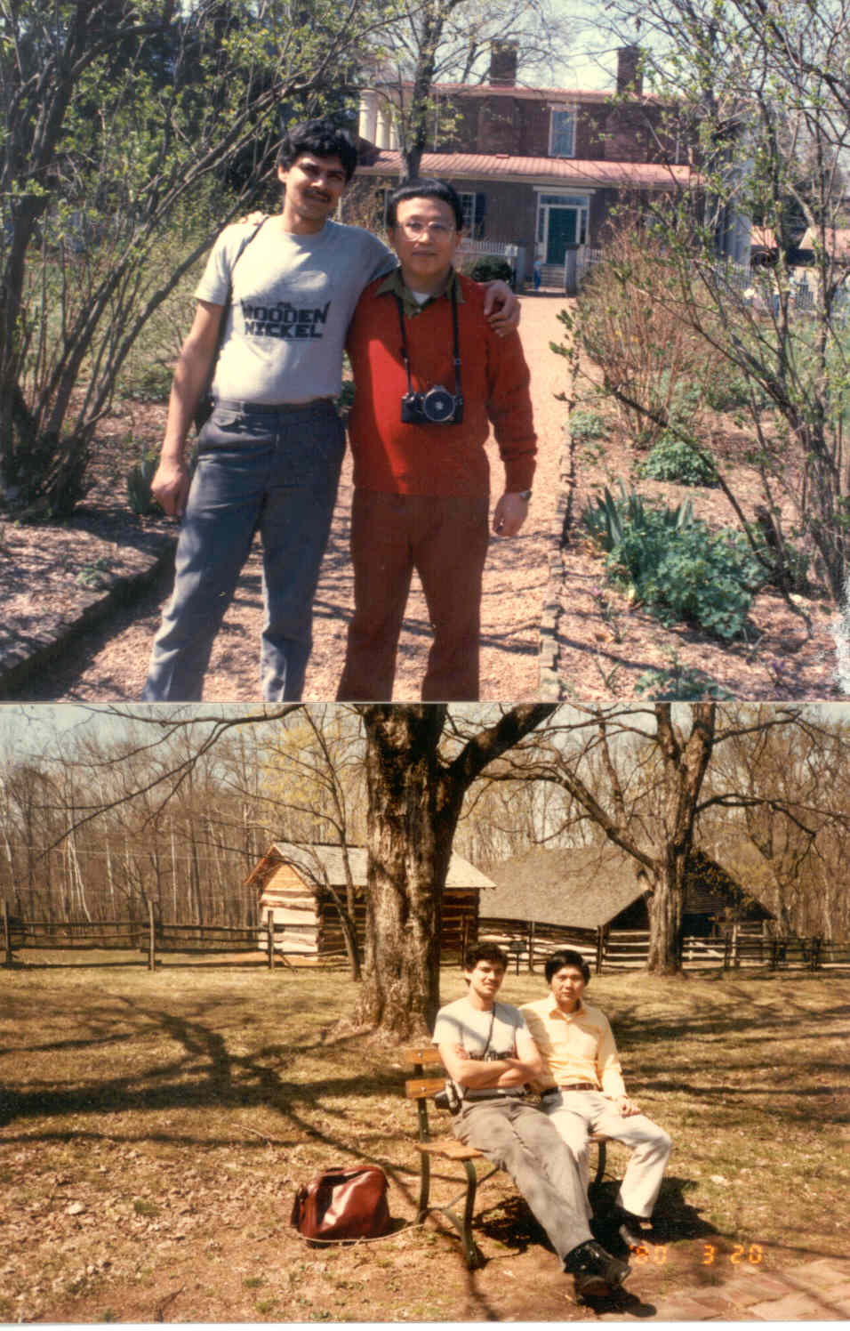 CLICK TO ENLARGE -Myself and my friend Ying (from Taiwan) and Sung (from Korea), on a foriegn student trip to Nashville, Tennesee (1987)
