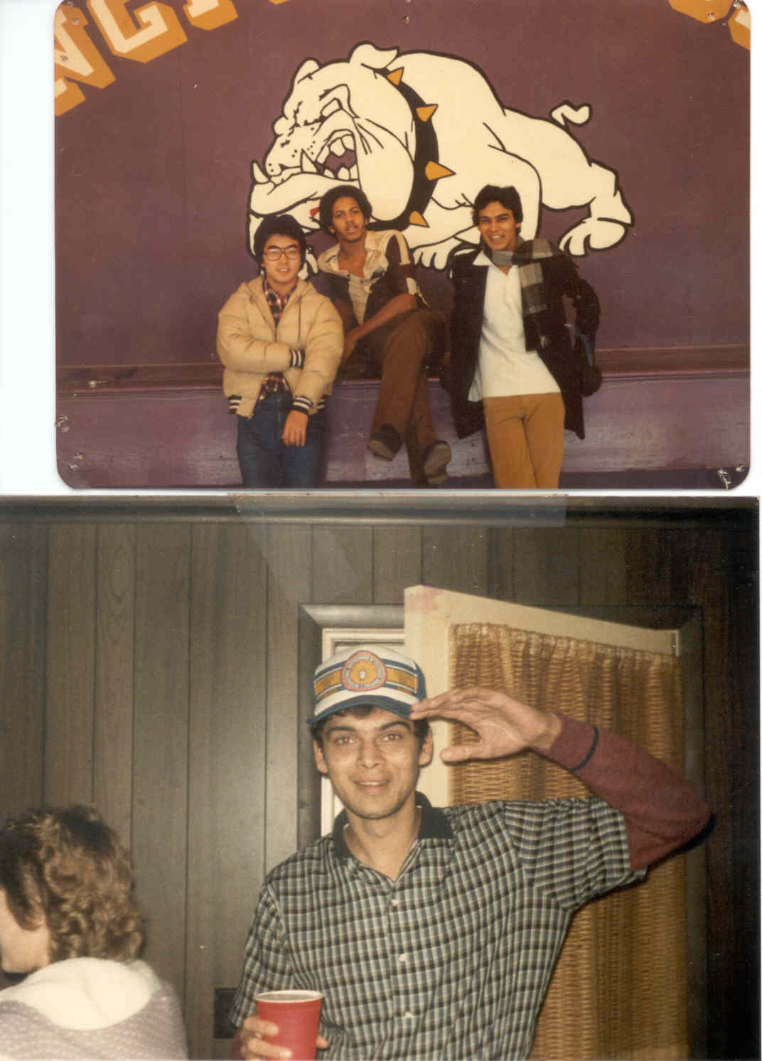 CLICK TO ENLARGE - Myself and my room-mate Masuda (from Japan) & Cedric Porter (from Cuba) at Springfield College in Illinois (1980)